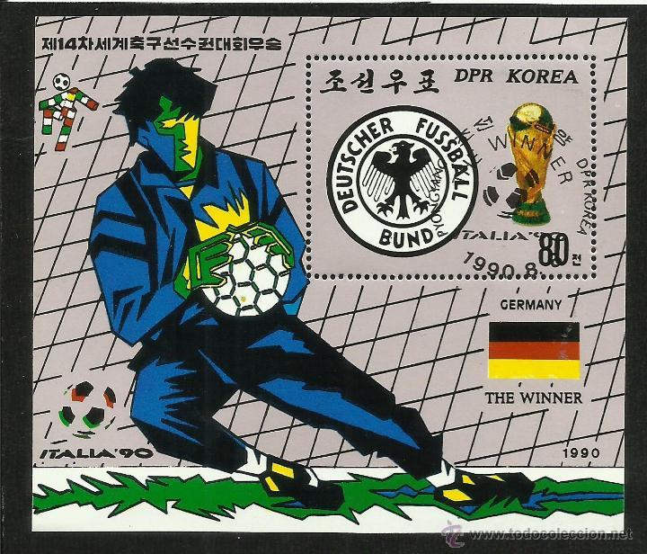 COREA 1990 HOJA BLOQUE COPA MUNDIAL DE FUTBOL ITALIA 90- ALEMANIA CAMPEON- FIFA (Sellos - Temáticas - Deportes)