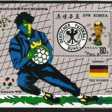 Sellos: COREA 1990 HOJA BLOQUE COPA MUNDIAL DE FUTBOL ITALIA 90- ALEMANIA CAMPEON- FIFA. Lote 44754339