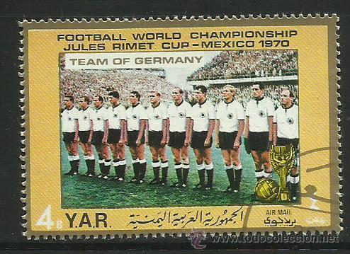 YEMEN 1970 SELLO DE L A COPA MUNDIAL DE FUTBOL MEXICO 70- SELECCION ALEMANIA- JULES RIMET- FIFA (Sellos - Temáticas - Deportes)