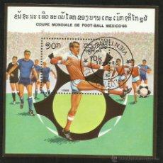 Sellos: VIETNAM 1986 HOJA BLOQUE COPA MUNDIAL DE FUTBOL MEXICO 86- FIFA- SOCCER. Lote 44978148