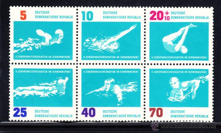 ALEMANIA ORIENTAL 620/25** - AÑO 1962 - CAMPEONATO DE EUROPA DE NATACION (Sellos - Temáticas - Deportes)