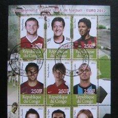 Sellos: REP. DEL CONGO 2012 HOJA BLOQUE UEFA EURO 2012 RONALDO- FABREGAS- BUFFON- MODRIC- OZIL- ROONEY-NASSI. Lote 47403567