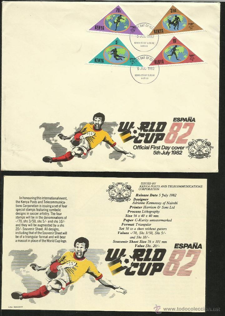 KENIA KENYA 1982 SOBRE PRIMER DÍA CIRCULACIÓN COPA MUNDIAL FÚTBOL ESPAÑA 82- FIFA (Sellos - Temáticas - Deportes)