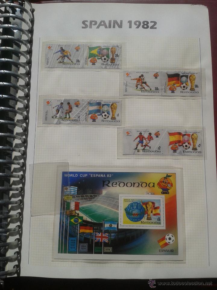REDONDA 1982 HOJA BLOQUE + SELLOS CONMEMORATIVOS DE LA COPA MUNDIAL DE FUTBOL ESPAÑA 82- FIFA (Sellos - Temáticas - Deportes)