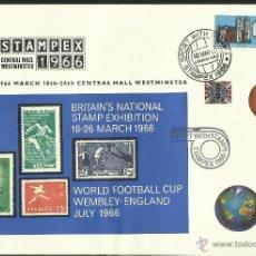 Sellos: SOBRE PRIMER DIA COPA MUNDIAL DE FUTBOL INGLATERRA 1966- STAMPEX 66 - COPA JULES RIMET FIFA- FDC. Lote 48848018