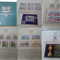 Sellos: ALBUM DE SELLOS Y HOJAS BLOQUE CONMEMORATIVOS COPA MUNDIAL DE FUTBOL MEXICO 86- FIFA. Lote 49038358