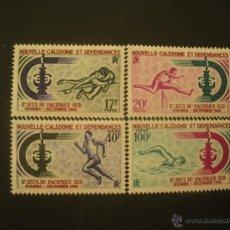 Sellos: NUEVA CALEDONIA 1966 IVERT 332/35 *** 2º JUEGOS DEL PACIFICO SUR - DEPORTES. Lote 50206303