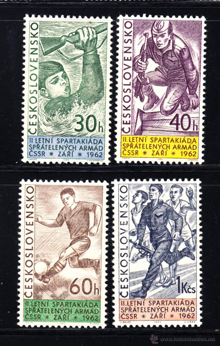 CHECOSLOVAQUIA 1226/29** - AÑO 1962 - JUEGOS DEPORTIVOS MILITARES - FUTBOL - NATACION - ATLETISMO (Sellos - Temáticas - Deportes)