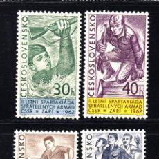 Sellos: CHECOSLOVAQUIA 1226/29** - AÑO 1962 - JUEGOS DEPORTIVOS MILITARES - FUTBOL - NATACION - ATLETISMO. Lote 269748618