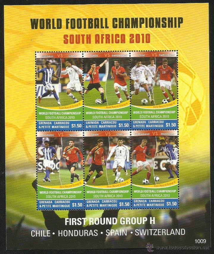 GAMBIA HOJA BLOQUE MUNDIAL DE FUTBOL SUDAFRICA 2010- JUGADORES ESPAÑA SERGIO RAMOS - XABI ALONSO (Sellos - Temáticas - Deportes)
