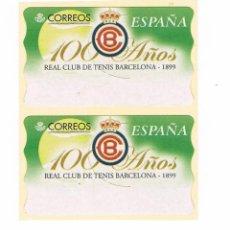 Sellos: LOTE DOS SELLOS 100 AÑOS REAL CLUB DE TENIS DE BARCELONA 1899. Lote 53810363