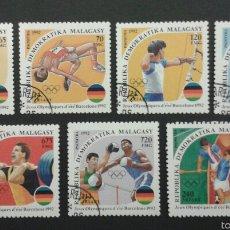 Sellos: SELLOS DE MADAGASCAR. DEPORTES. YVERT 1061/7. SERIE COMPLETA USADA.. Lote 55321365