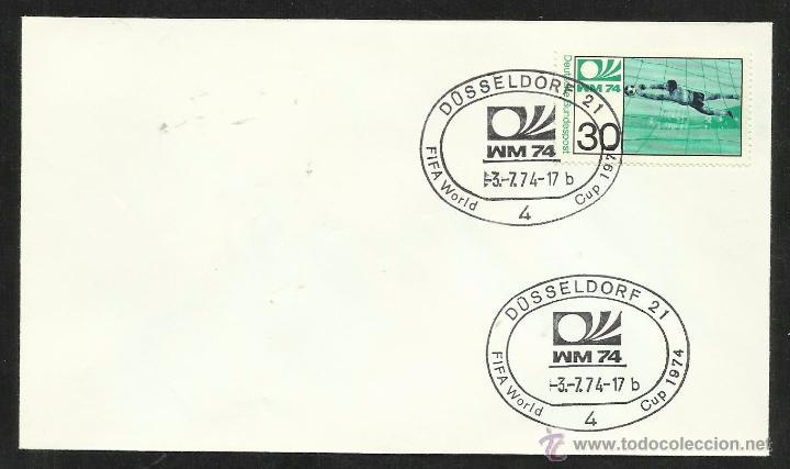 ALEMANIA 1974 SOBRE PRIMER DIA CIRCULACION COPA MUNDIAL DE FUTBOL ALEMANIA 74- DUSSELDORF- FDC (Sellos - Temáticas - Deportes)