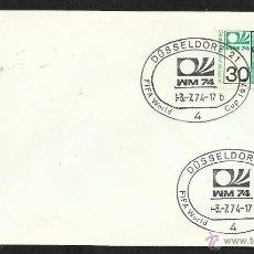 Sellos: ALEMANIA 1974 SOBRE PRIMER DIA CIRCULACION COPA MUNDIAL DE FUTBOL ALEMANIA 74- DUSSELDORF- FDC . Lote 54947202