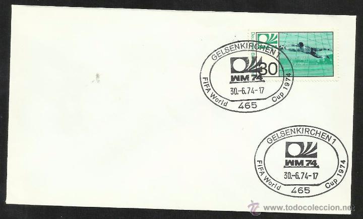 ALEMANIA 1974 SOBRE PRIMER DIA CIRCULACION COPA MUNDIAL DE FUTBOL ALEMANIA 74- GELSENKIRCHEN- FDC (Sellos - Temáticas - Deportes)