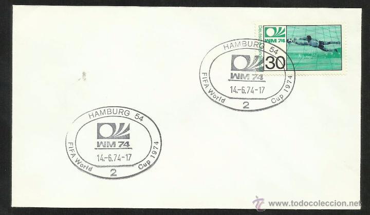 ALEMANIA 1974 SOBRE PRIMER DIA CIRCULACION COPA MUNDIAL DE FUTBOL ALEMANIA 74- HAMBURGO- FDC (Sellos - Temáticas - Deportes)