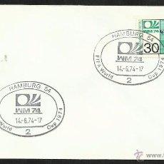 Sellos: ALEMANIA 1974 SOBRE PRIMER DIA CIRCULACION COPA MUNDIAL DE FUTBOL ALEMANIA 74- HAMBURGO- FDC . Lote 54947222