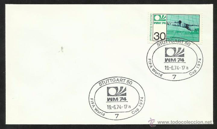 ALEMANIA 1974 SOBRE PRIMER DIA CIRCULACION COPA MUNDIAL DE FUTBOL ALEMANIA 74- STUTTGART- FDC (Sellos - Temáticas - Deportes)