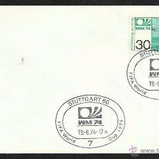 Sellos: ALEMANIA 1974 SOBRE PRIMER DIA CIRCULACION COPA MUNDIAL DE FUTBOL ALEMANIA 74- STUTTGART- FDC . Lote 54947233