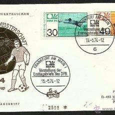 Sellos: ALEMANIA 1974 SOBRE PRIMER DIA CIRCULACION COPA MUNDIAL DE FUTBOL ALEMANIA 74- FRANKFURT- FDC . Lote 54947265