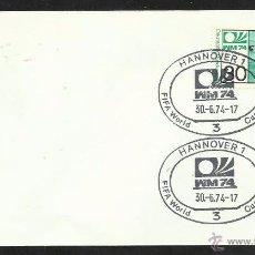 Sellos: ALEMANIA 1974 SOBRE PRIMER DIA CIRCULACION COPA MUNDIAL DE FUTBOL ALEMANIA 74- HANNOVER- FDC . Lote 54947278