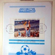 Sellos: HOJA BLOQUE SELLOS CONMEMORATIVOS COPA MUNDIAL FUTBOL MEXICO 86- ARGENTINA CAMPEON- MARADONA FIFA. Lote 55042595