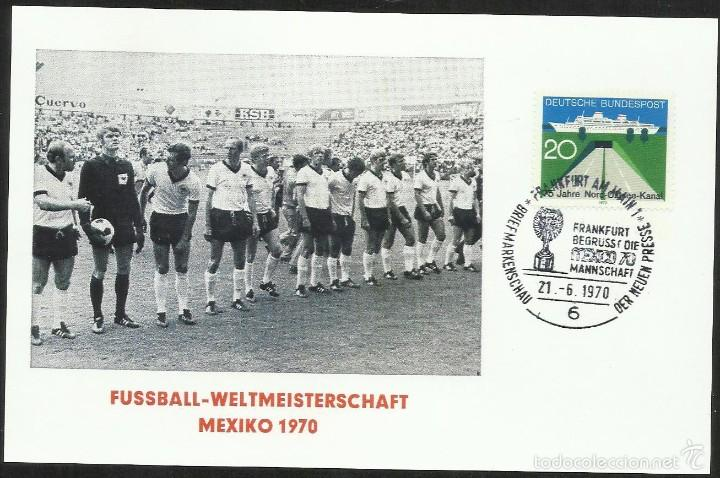 ALEMANIA 1970 SOBRE PRIMER DIA CIRCULACION COPA JULES RIMET- MUNDIAL DE FUTBOL MEXICO 70 - FDC (Sellos - Temáticas - Deportes)