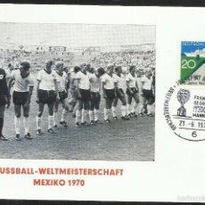 Sellos: ALEMANIA 1970 SOBRE PRIMER DIA CIRCULACION COPA JULES RIMET- MUNDIAL DE FUTBOL MEXICO 70 - FDC. Lote 56522666