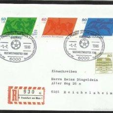 Sellos: ALEMANIA 1986 SOBRE PRIMER DIA CIRCULACION COPA MUNDIAL DE FUTBOL MEXICO 86 - FDC. Lote 56522675