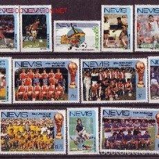 Sellos: NEVIS 1986 IVERT 387/98 *** CAMPEONATO DEL MUNDO DE FUTBOL - MEXICO-86 - DEPORTES. Lote 57157119