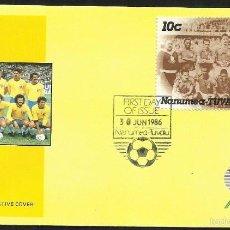 Sellos: SOBRE PRIMER DIA CIRCULACION COPA MUNDIAL DE FUTBOL MEXICO 1986 - TUVALU - BRASIL 1958. Lote 57518635