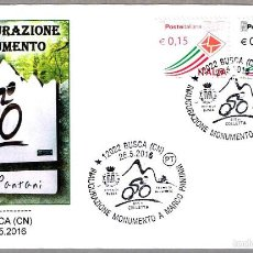 Sellos: INAUGURACION DEL MONUMENTO A MARCO PANTANI - CICLISMO. BUSCA, ITALIA, 2016. Lote 58153166