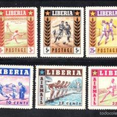 Sellos: LIBERIA 325/27 Y AEREO 86/88** - AÑO 1955 - DEPORTES - TENIS - FUTBOL - BOXEO - BEISBOL - NATACION. Lote 219029960