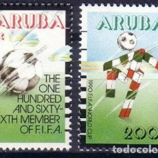 Sellos: ARUBA 1990 IVERT 76/7 *** ITALIA-90 - COPA DEL MUNDO DE FUTBOL - DEPORTES. Lote 68355405