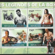Sellos: HOJA BLOQUE LEYENDAS DEL BOXEO MUHAMMAD ALI- MIKE TYSON- GEORGE FOREMAN- LENNOX LEWIS. Lote 68378469