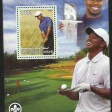 Sellos: PALESTINA 2007 HOJA BLOQUE SELLOS TEMATICA DEPORTES GOLF - TIGER WOODS . Lote 150419621