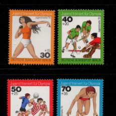Sellos: BERLIN 481/84** - AÑO 1976 - DEPORTES OLIMPICOS - ATLETISMO, HOCKEY HIERBA, BALONMANO, NATACION. Lote 221975302