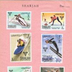 Sellos: 0236. TARJETA SOUVENIR SHARJAH, DEPORTES INVIERNO SKI GRENOBLE 1968. Lote 83544532