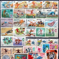 Sellos: TEMATICA DEPORTES. LOTE 75 SELLOS DIFERENTES **/*. MNH/MH .( 17-721) (2 FOTOS ). Lote 90624345