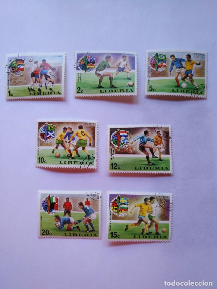 LIBERIA 7 SELLOS MUNDIALES FUTBOL CUP FOOTBALL 1974 (Sellos - Temáticas - Deportes)