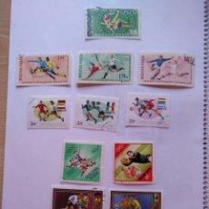 Sellos: MAGYAR POSTA - HUNGRIA 12 SELLOS MUNDIALES FUTBOL CUP FOOTBALL Y OLYMPIC GAMES. Lote 93872840