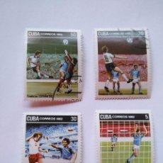 Sellos: CUBA -LOTE 4 SELLOS MUNDIALES DE FUTBOL ESPAÑA 1982 - FINALISTAS. Lote 93952205