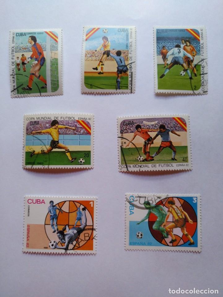 CUBA -LOTE 7 SELLOS MUNDIALES DE FUTBOL ESPAÑA 1982 (Sellos - Temáticas - Deportes)