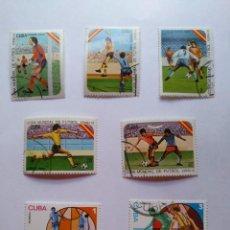 Sellos: CUBA -LOTE 7 SELLOS MUNDIALES DE FUTBOL ESPAÑA 1982 . Lote 93952985