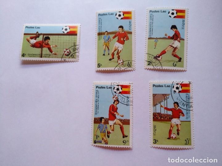 LAOS -LOTE 5 SELLOS MUNDIALES DE FUTBOL ESPAÑA 1982 (Sellos - Temáticas - Deportes)