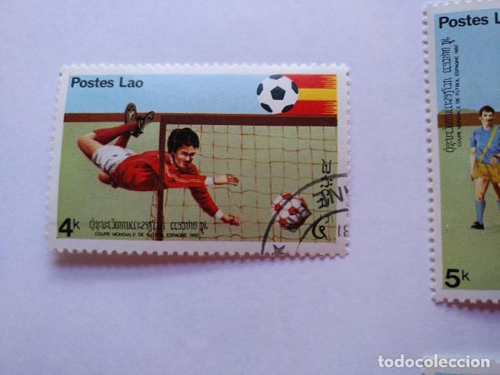 Sellos: LAOS -LOTE 5 SELLOS MUNDIALES DE FUTBOL ESPAÑA 1982 - Foto 2 - 93954095