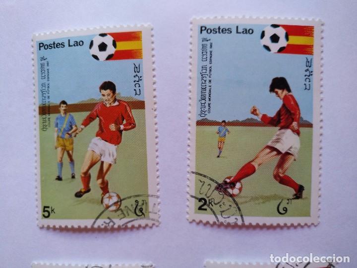 Sellos: LAOS -LOTE 5 SELLOS MUNDIALES DE FUTBOL ESPAÑA 1982 - Foto 3 - 93954095