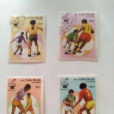 Sellos: CABO VERDE - LOTE 4 SELLOS MUNDIAL DE FULTBOL ESPAÑA 1982. Lote 94067800