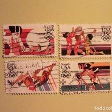 Sellos: JUEGOS OLIMPICOS DE LOS ANGELES - 1984 - ESGRIMA, BOLEIBOL, CICLISMO Y SALTO DE ALTURA. Lote 94596759