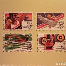 Sellos: USA - JUEGOS OLÍMPICOS DE LOS ÁNGELES 1984 - LANZAMIENTO DE BALA, ANILLAS, PESAS Y NATACIÓN.. Lote 94596979